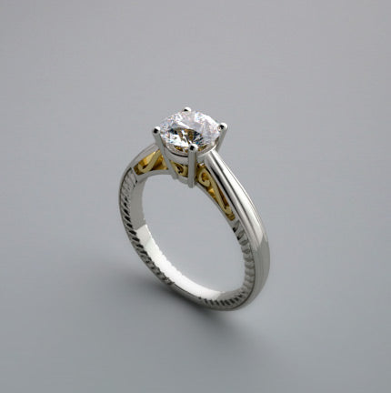 14K Gold Ring Setting 2 Tone Gold