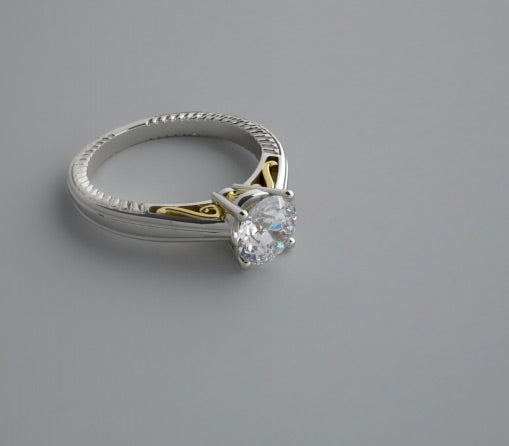 ELEGANT UNIQUE TWO TONE GOLD ENGAGEMENT RING SETTING