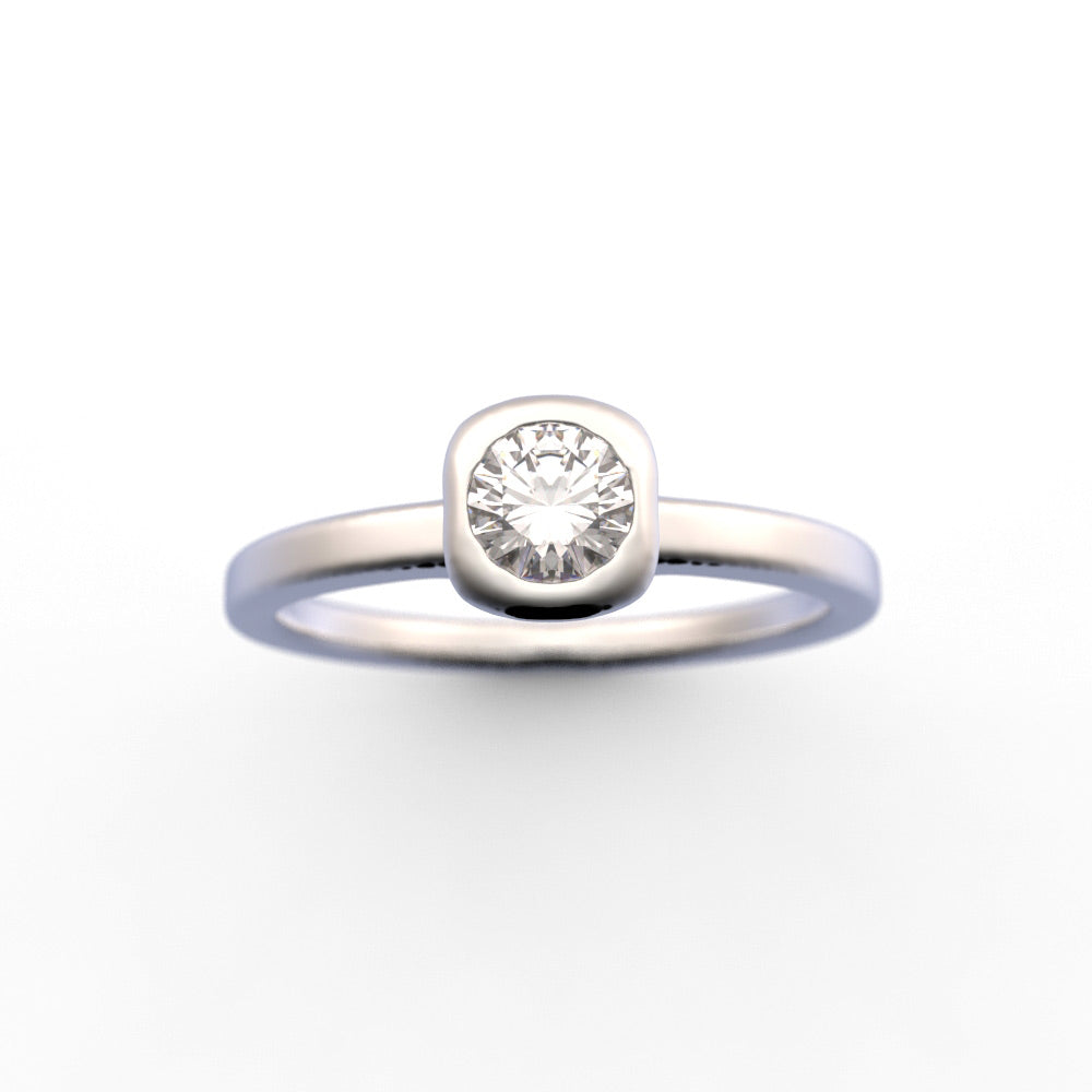 Bezel Diamond Ring, Round Diamond Ring, Minimalist Diamond Ring,
