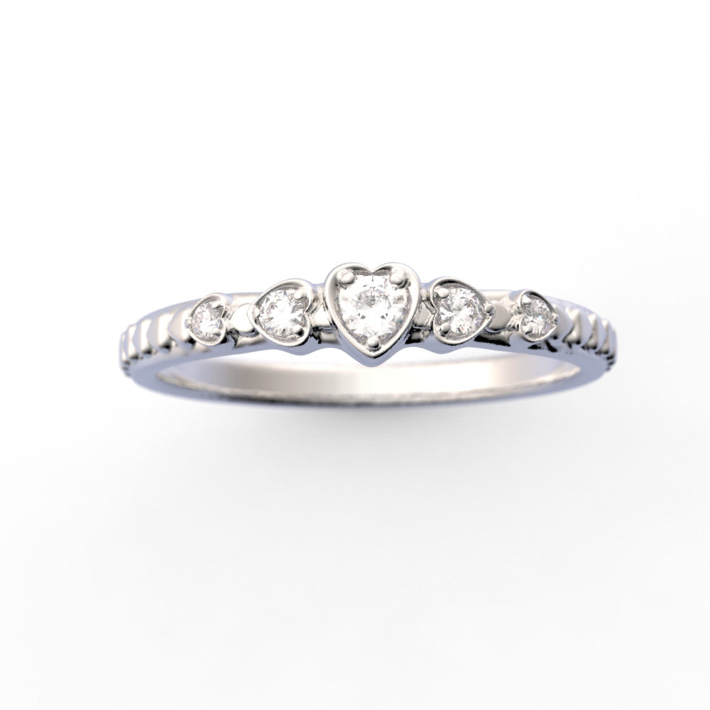 Petite 14K Gold Diamond Heart Ring Band Stackable