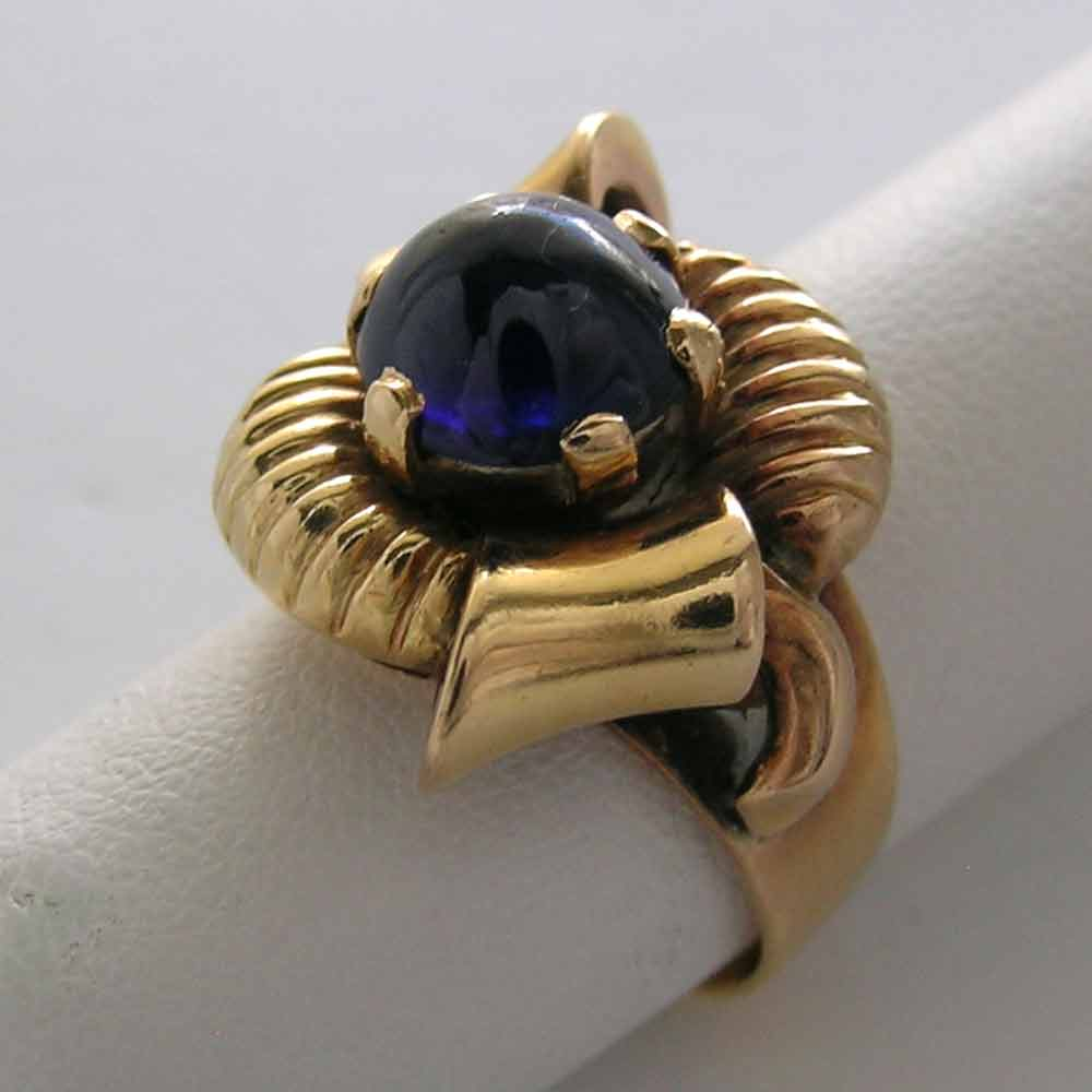 14K VINTAGE NATURAL SAPPHIRE CABOCHON BOW RING