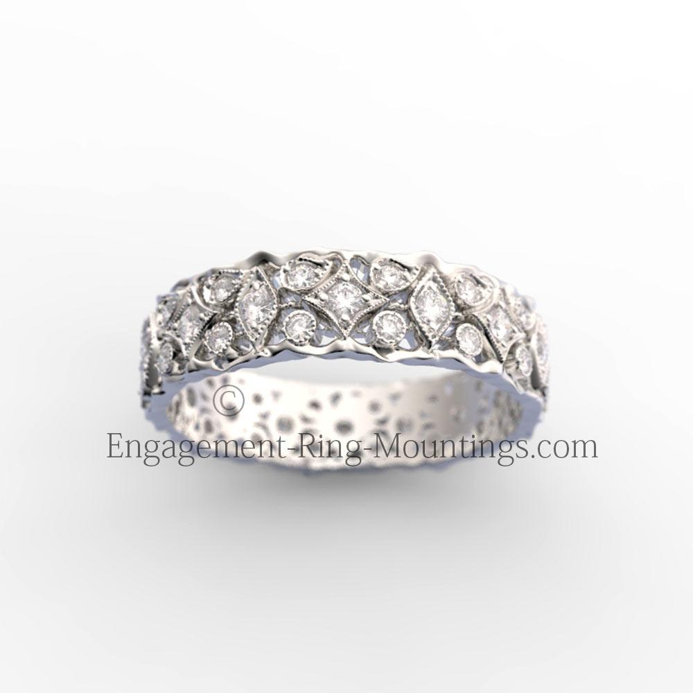 Gold Diamond Designer Eternity Wedding Band