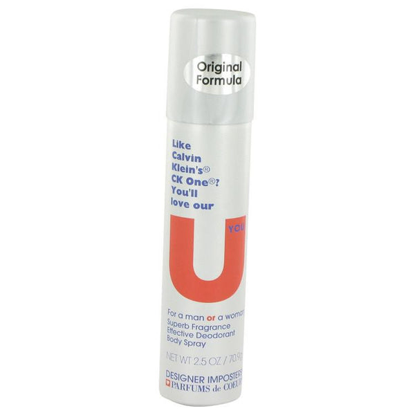 Designer Imposters U You by Parfums De Coeur Deodorant Body Spray (Unisex) 2.5 oz - Natural Peach