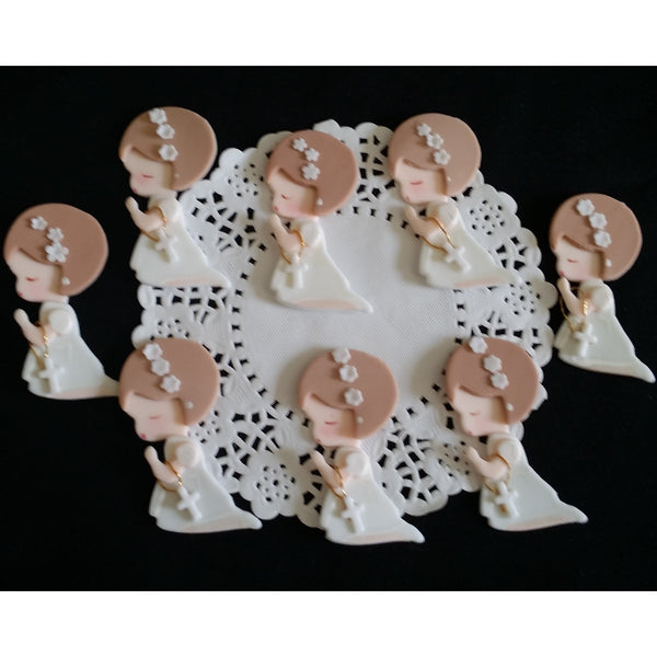 Baptism Favors Baptism Cupcake Topper Communion & Baptism Child with Rosary 12pcs - Cake Toppers Boutique