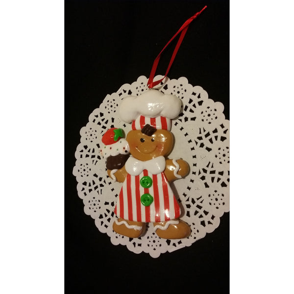 Gigerbread Christmas Ornaments, Gingerbread Christmas Tree Decorations, Red Christmas Ormament - Cake Toppers Boutique