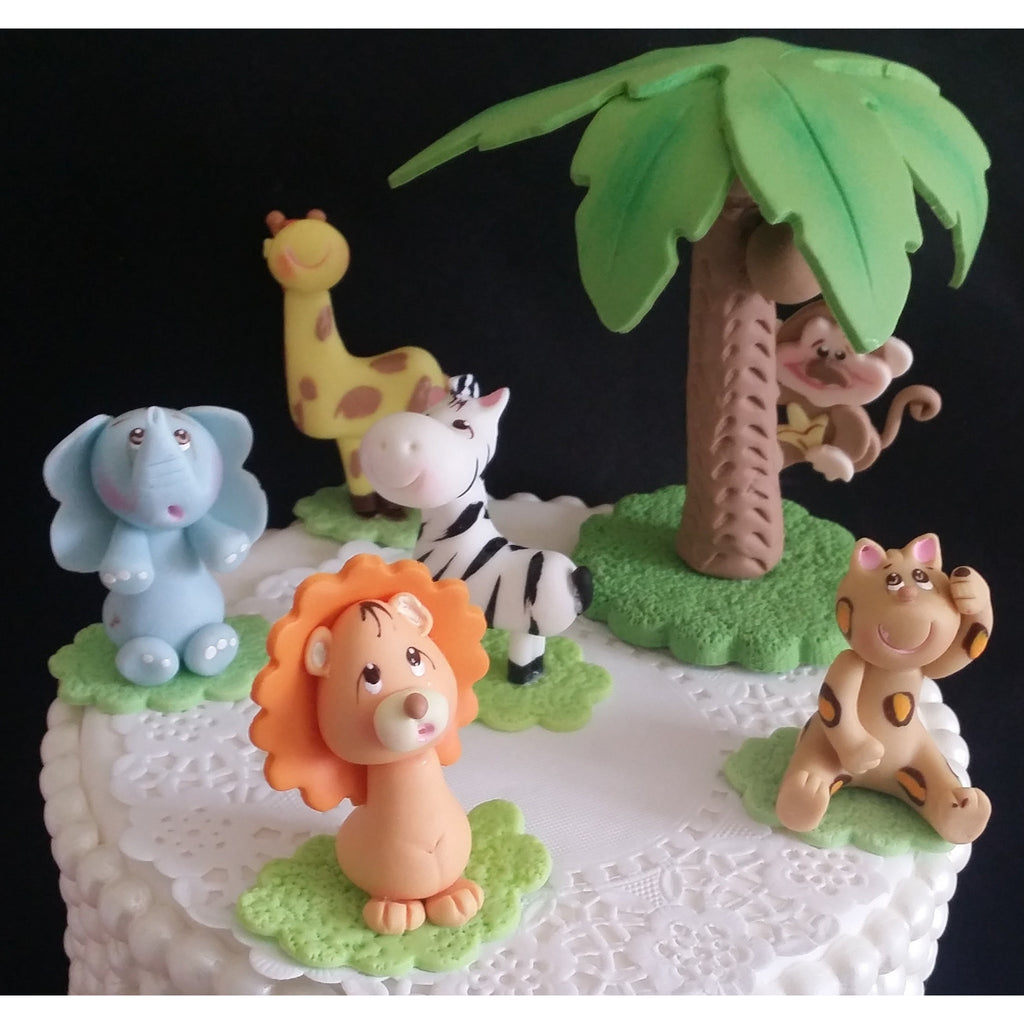 Baby Shower Cakes Jungle Animals ~ Lion birthday decorations jungle safari cake toppers
