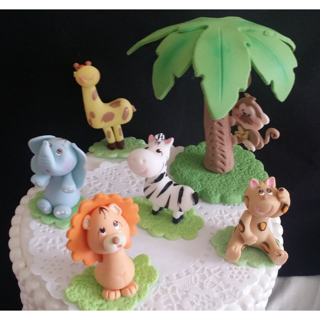 Jungle Safari Cake Toppers Animals And Palm Decoration Zoo Centerpieces