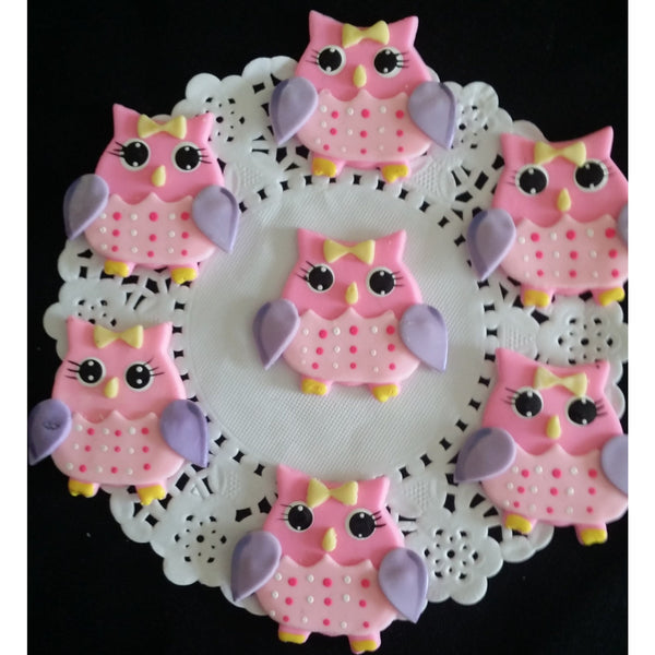 Owls Cupcake Toppers Baby Shower Owls Figurines for Corsages Pink or Blue Owls 12pcs - Cake Toppers Boutique