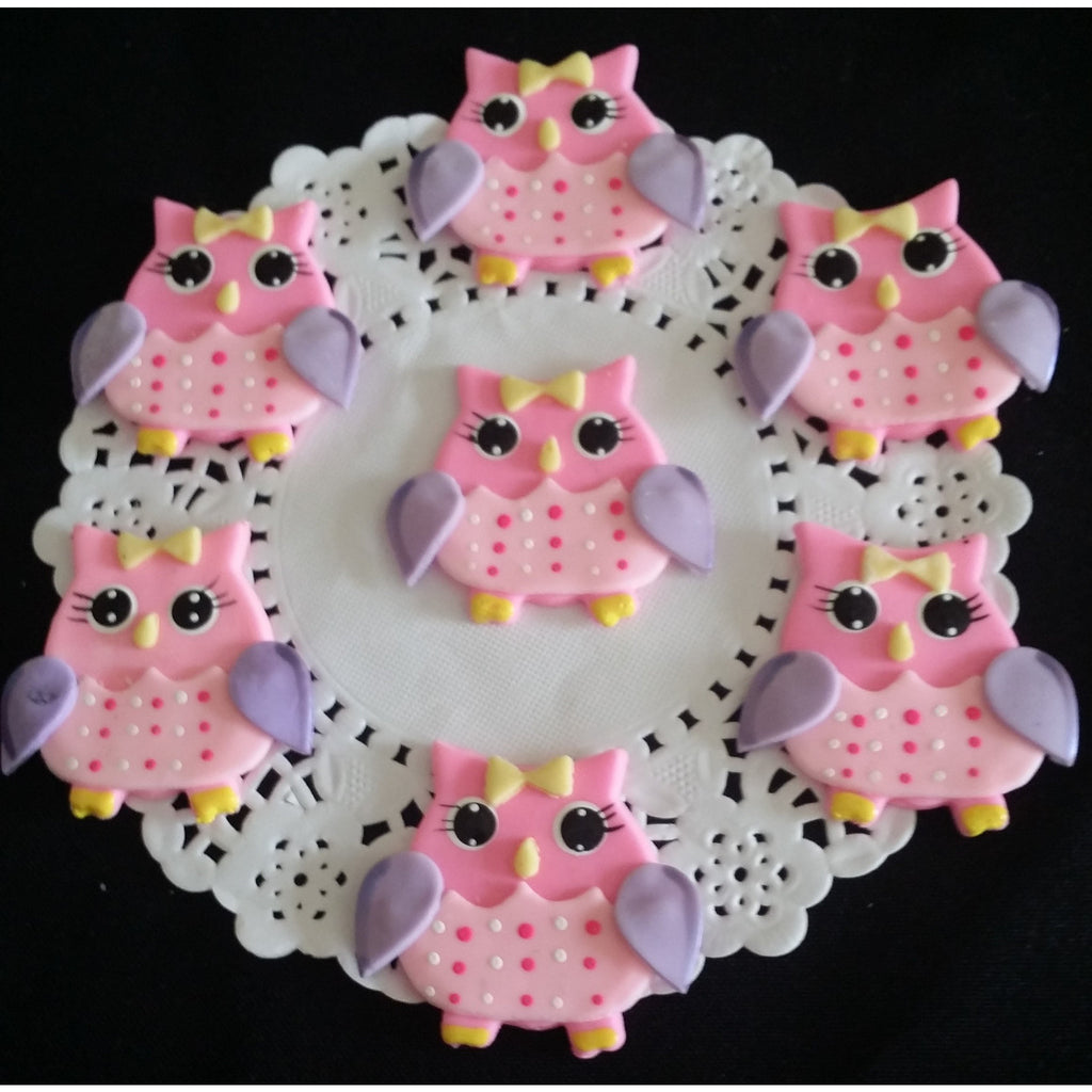 Owls Baby Shower Figurines , Owls For Corsages, Cupcake Toppers Owls,