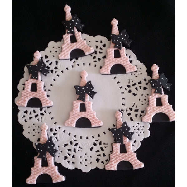 Eiffel Tower Cupcake Topper Paris Pink and Black Eiffel Towers Figurines 12pcs - Cake Toppers Boutique