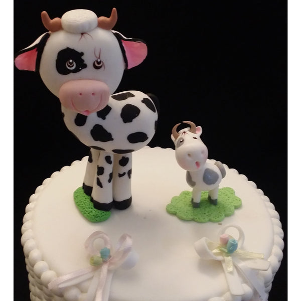 Milk & Cookies Baby Shower Mommy Cow & Baby Cake Topper Cow Cake Decoration 2pcs - Cake Toppers Boutique