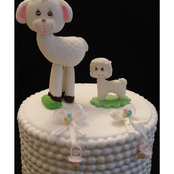 Little Lamb Cake Toppers Mommy and Baby Cake Decorations Baby Shower Little Lamb 2pcs - Cake Toppers Boutique