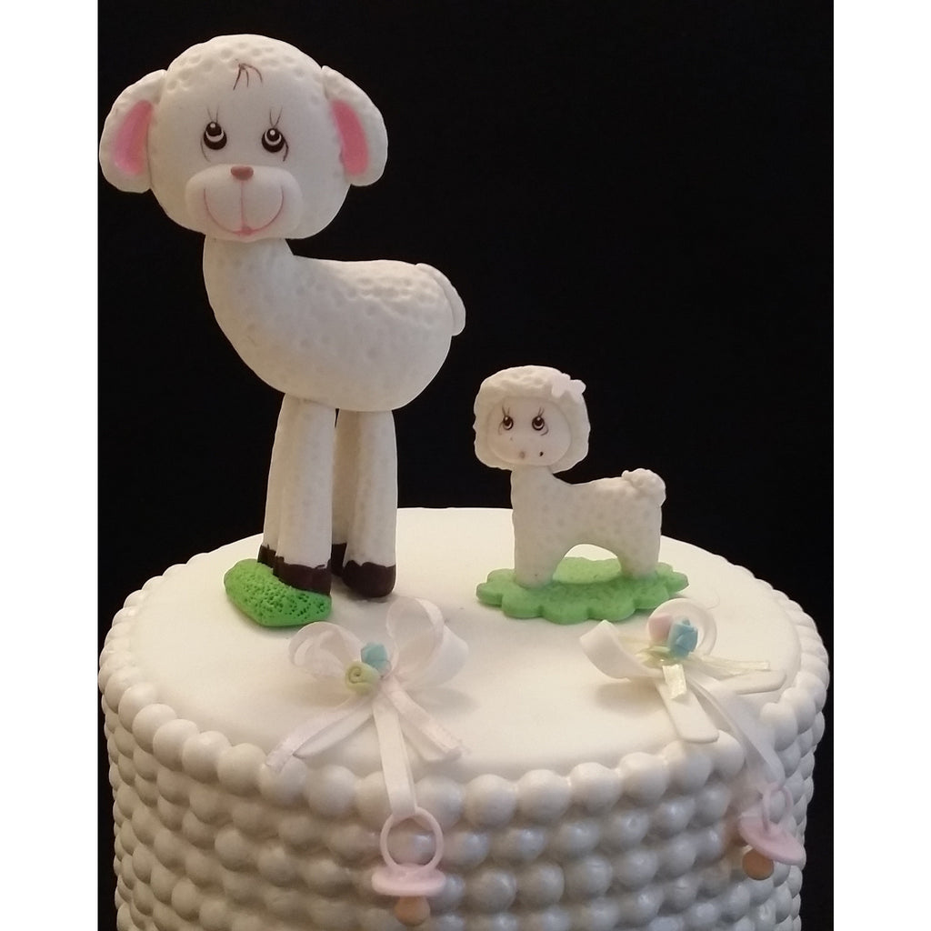 Little Lamb Cake Toppers Mommy And Baby Cake Decorations Baby Shower L