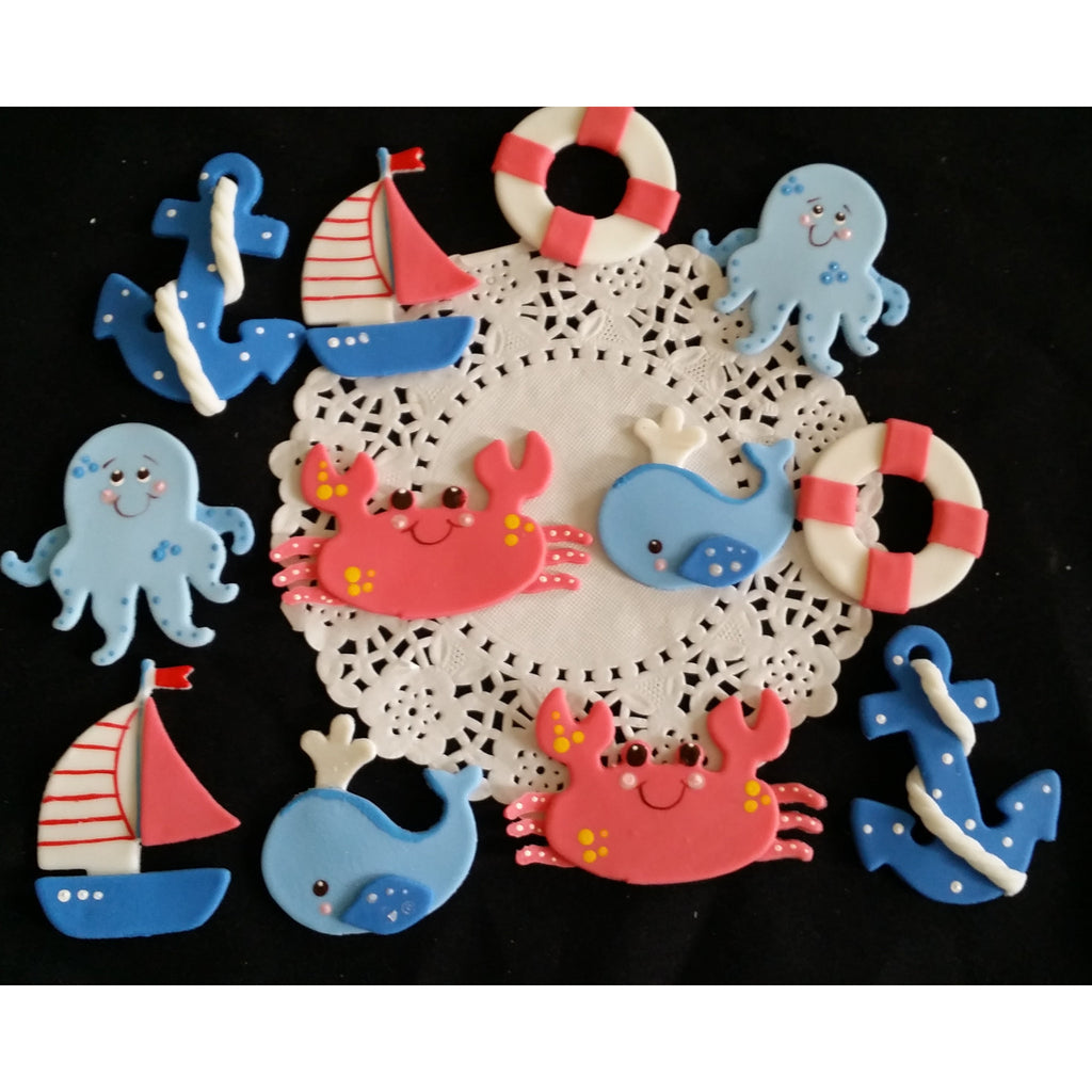 Under the sea Cake Decorations Under the Sea Cupcake Toppers Nautical Decorations 12pcs - Cake Toppers Boutique