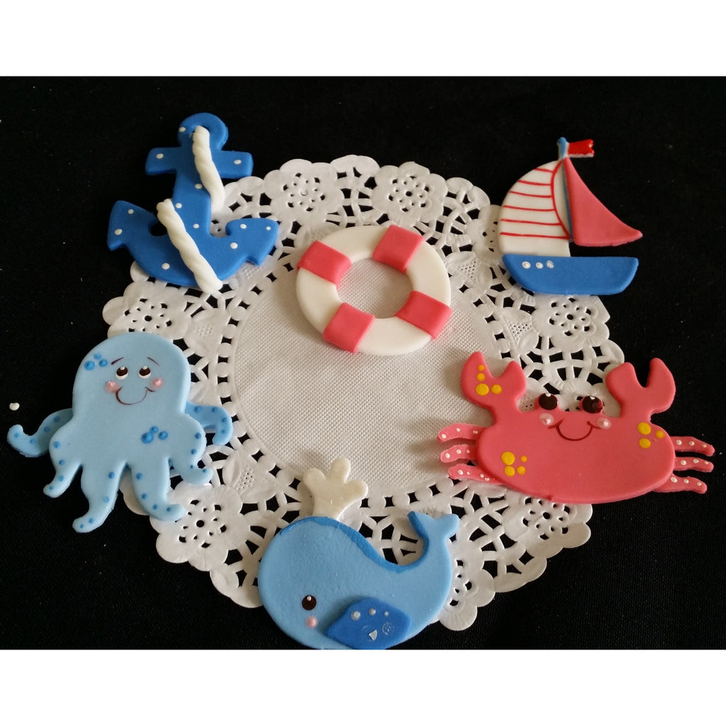 Nautical Cupcake Topper Sailor Decorations Sailor Birthday Sea Decorations in Blue or Pink  12pcs - Cake Toppers Boutique