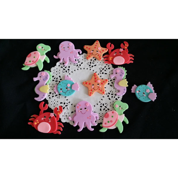 Under the sea Birthday Sea Animals Cake Decoration Nautical Cake & Cupcake Decoration 12pcs - Cake Toppers Boutique