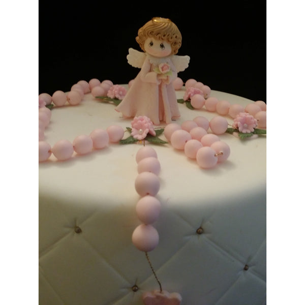 Unique Baby Girl Baptism Cake Topper, Girls Baptism Cake Topper, Vintage Look Baby Girl for Baptism Cake , Rosary For Cake, Christening Cake Topper, Rosary Cake
