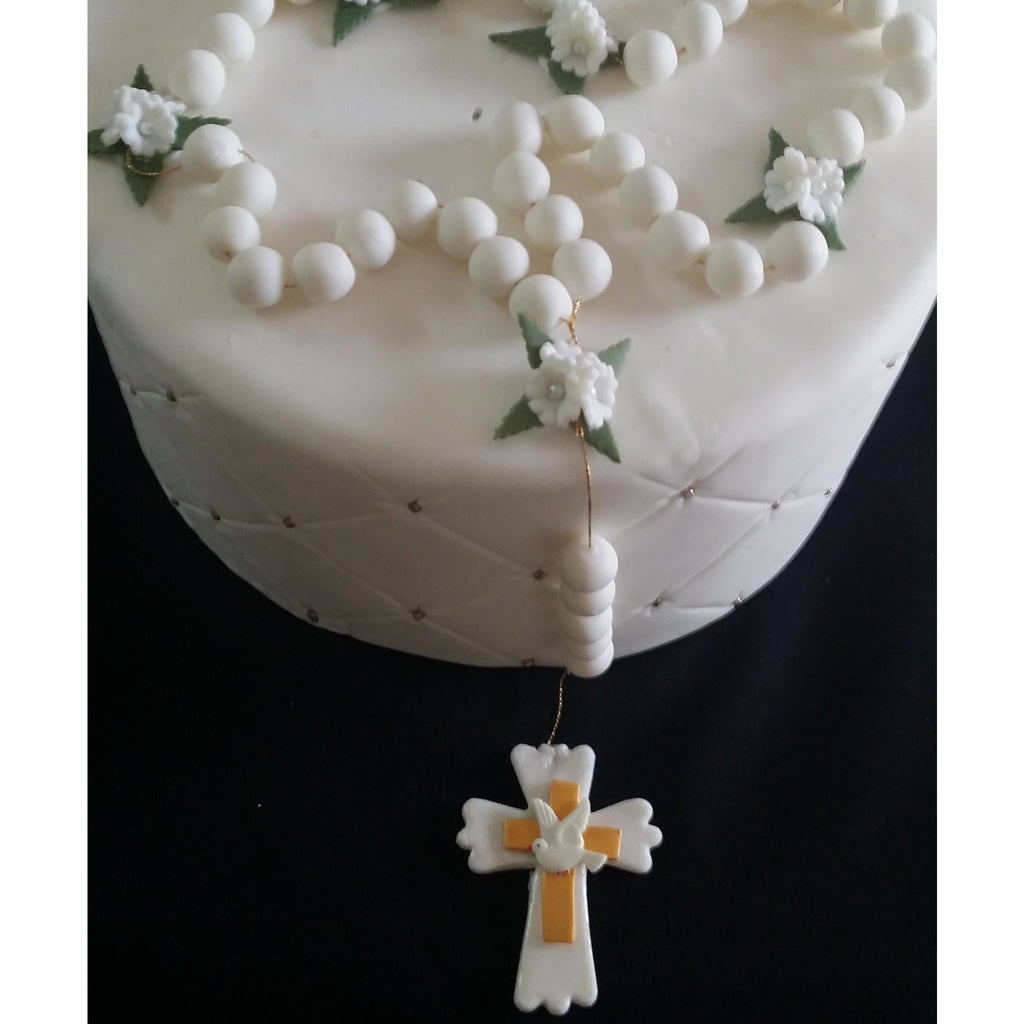 White and Gold Rosary Cake Topper First Communion & Baptism Rosary Cake Decoration & Keepsake - Cake Toppers Boutique
