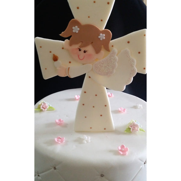 Angel On Cross Cake Topper White Cross Cake Decorations Girl or Boy Baptism Cake Topper - Cake Toppers Boutique