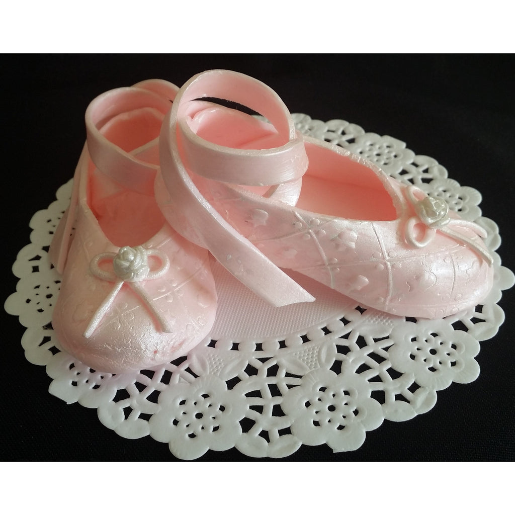 Ballerina shoes cake topper ballerina baby shower ballet for Baby footprints cake decoration