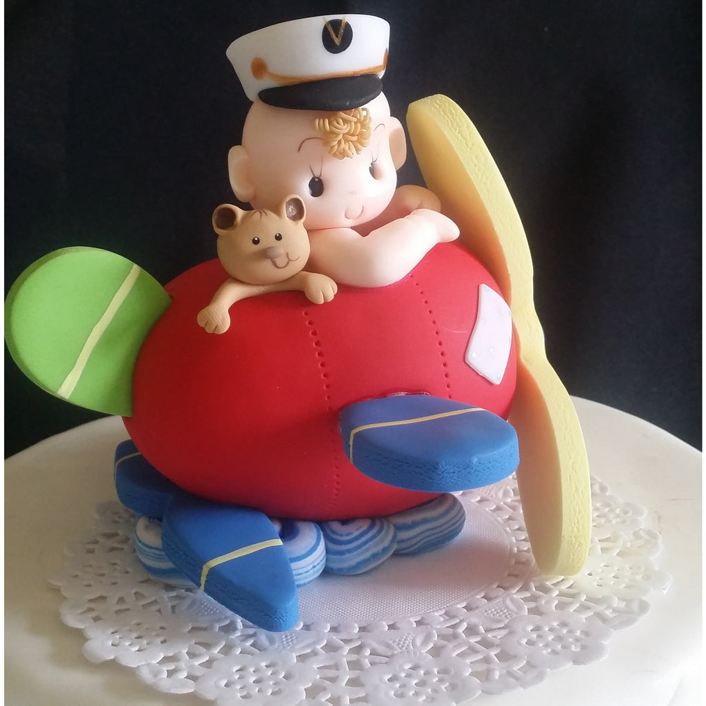 Baby on Airplane Cake Topper, Plane Cake Topper, Airplane ...
