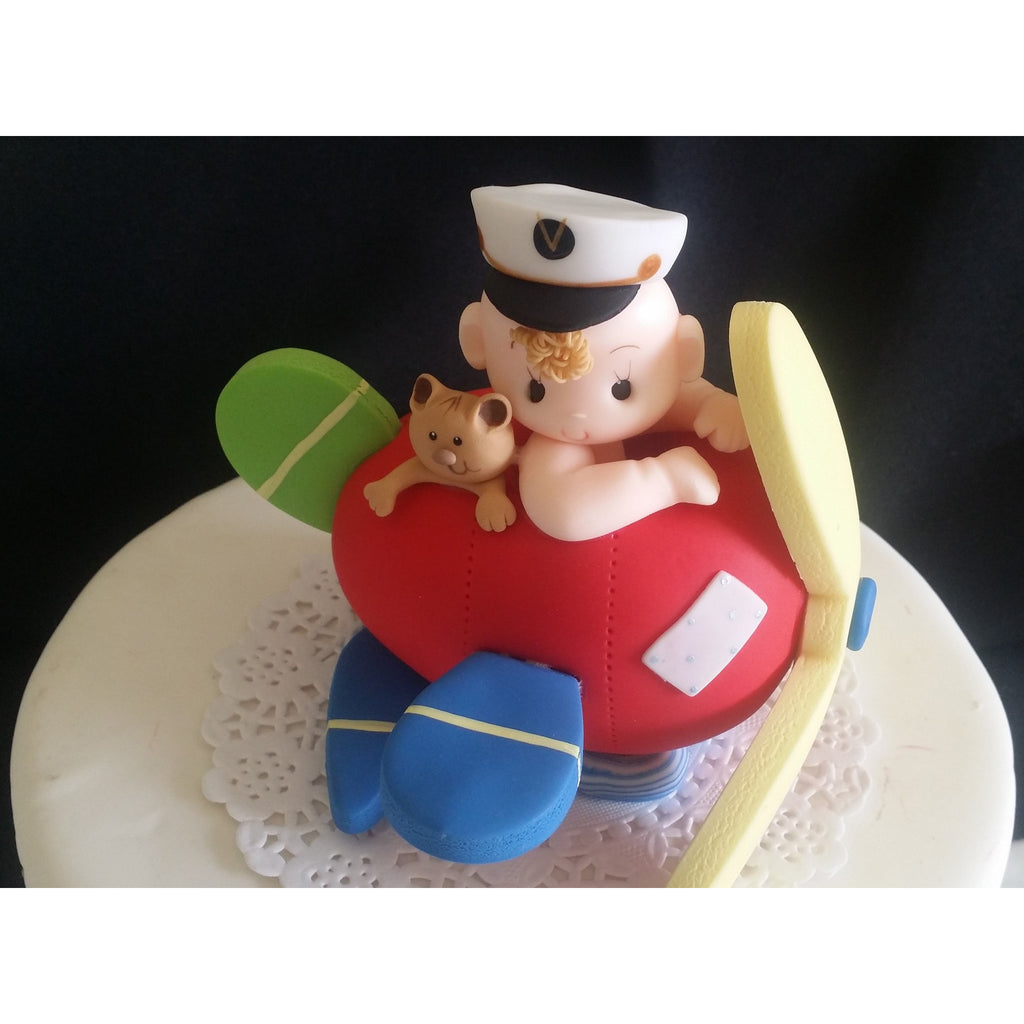 Baby on airplane cake topper plane cake topper airplane for Airplane cake decoration