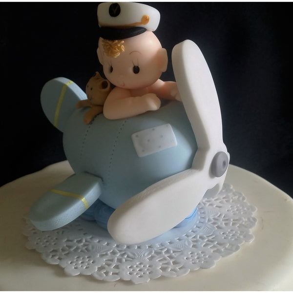 Baby on Airplane Cake Topper Plane Cake Topper Airplane Cake Decoration Airplane in Blue or Red - Cake Toppers Boutique