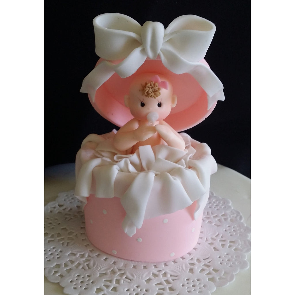 baby shower cake topper baby in a surprice box pink or blue cake