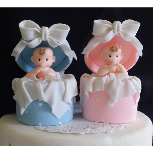 Baby Shower Cake Topper Baby in a Surprice Box Pink or Blue Cake Decorations - Cake Toppers Boutique