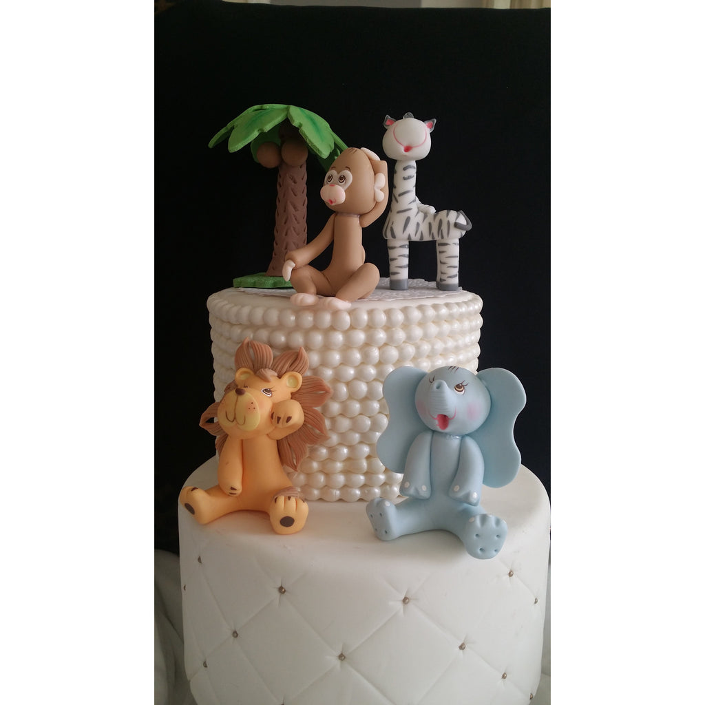 Animals cake decorations wild jungle animals safari baby for Baby shower foam decoration