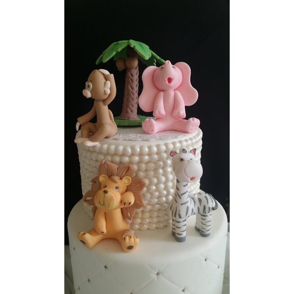 Girls Jungle Cake Decoration Pink Safari Animals Cake Topper Girls Safari Birthday Decoration - Cake Toppers Boutique
