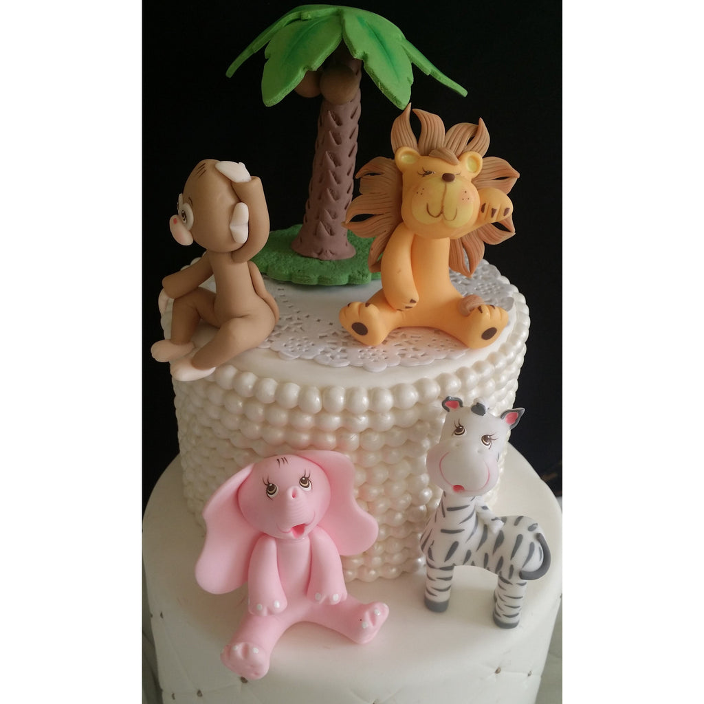 Girls Jungle Cake Decoration Pink Safari Animals Topper Birthday
