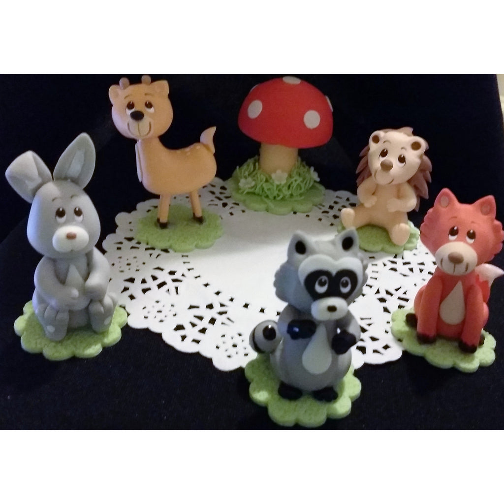 Woodland animal cake toppers woodland decorations for Baby tv birthday decoration