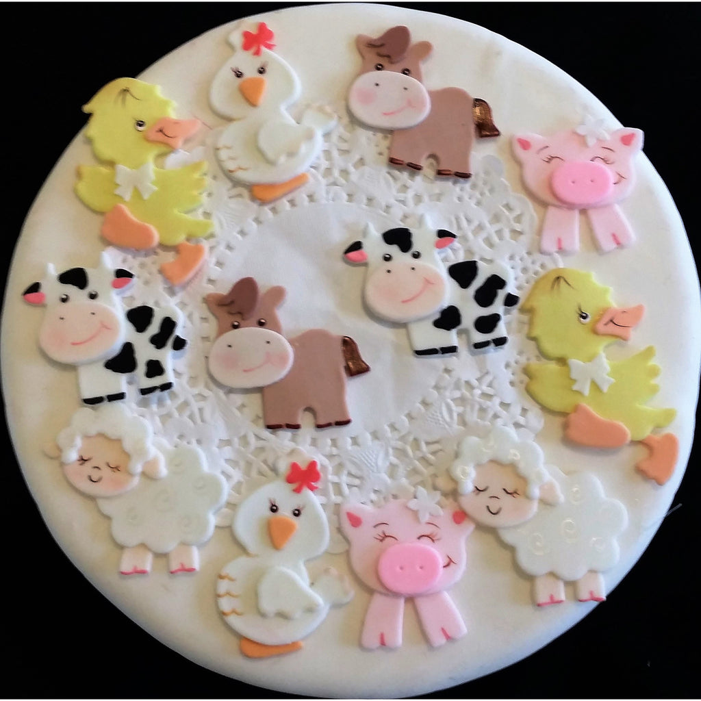 Farm animals cupcake toppers farm birthday decorations for Baby birthday decoration