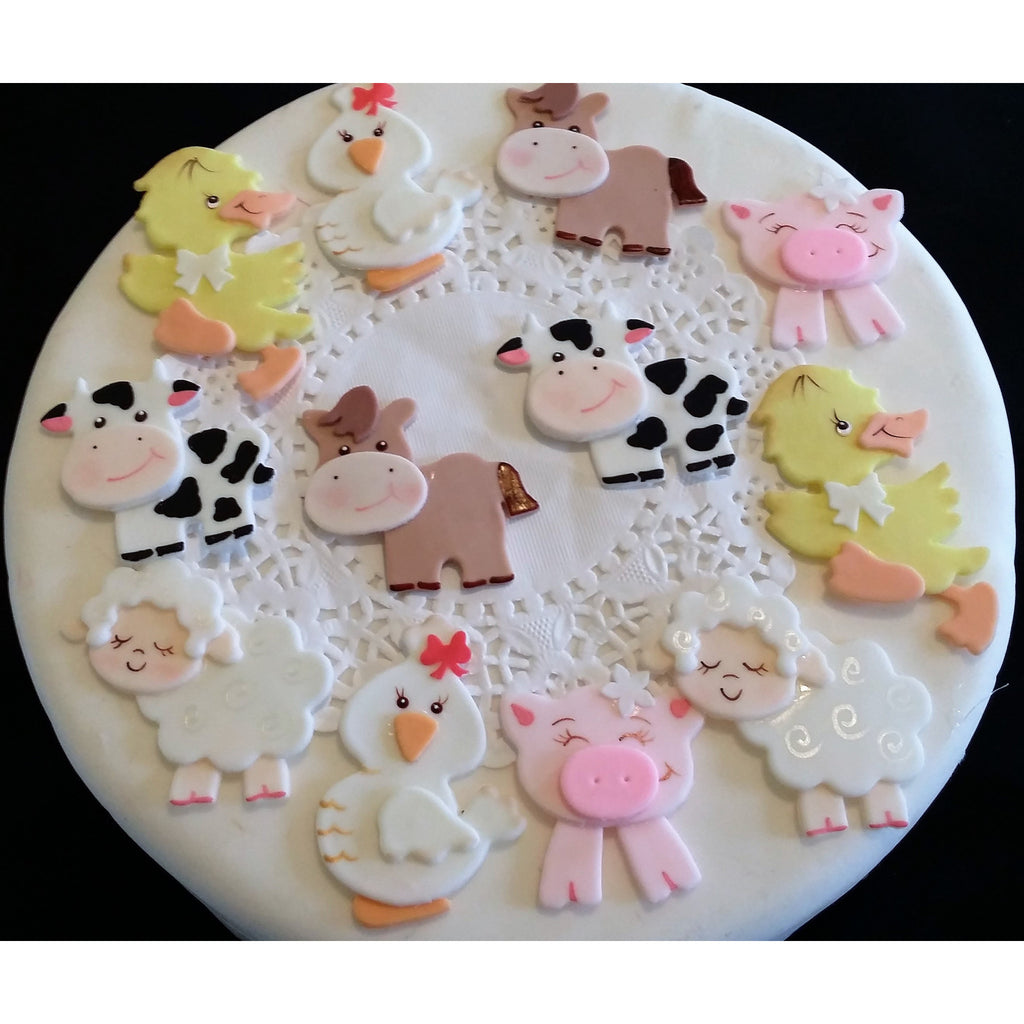 Farm animals cupcake toppers farm birthday decorations for Baby footprints cake decoration