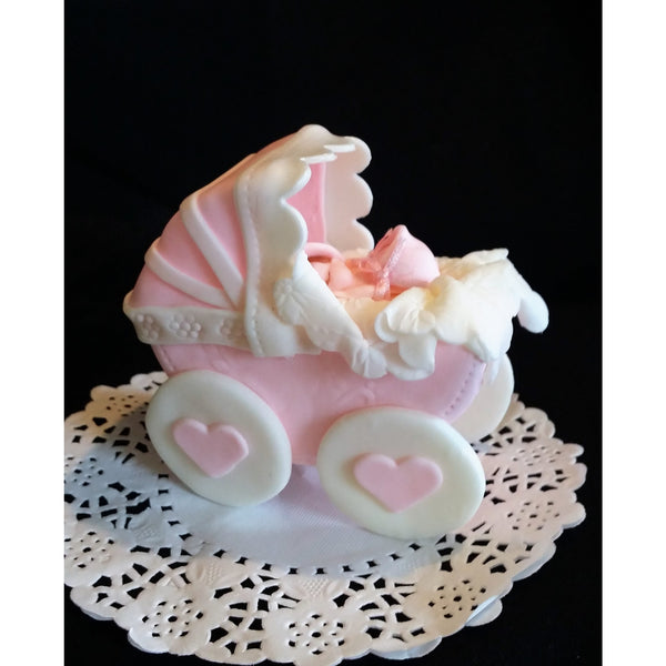 Baby Shower Cake Topper, Baby Carriage Cake Decoration, Pink Baby Shower Cake - Cake Toppers Boutique