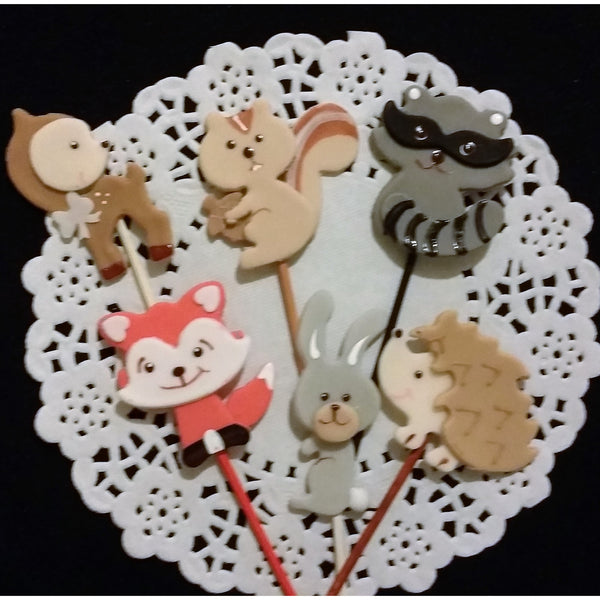Forest Birthday Decoration Woodland Baby Animals Woodland Cupcake Toppers 12pcs - Cake Toppers Boutique