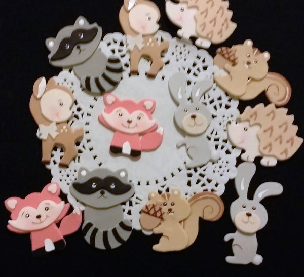 Woodland Cake Decorations, Woodland Birthday, Woodland Baby Shower, Forest Birthday Theme 12pcs - Cake Toppers Boutique