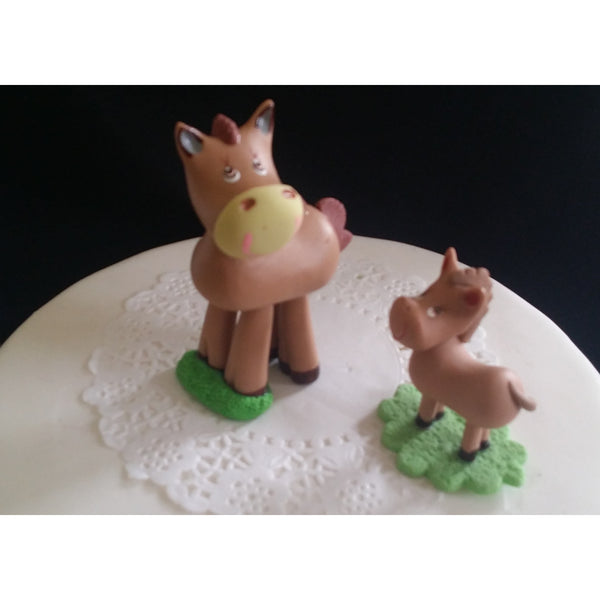 Horse and Pony Cake Topper Mommy and Baby Pony Cake Decoration Baby Pony Decor 2pcs - Cake Toppers Boutique