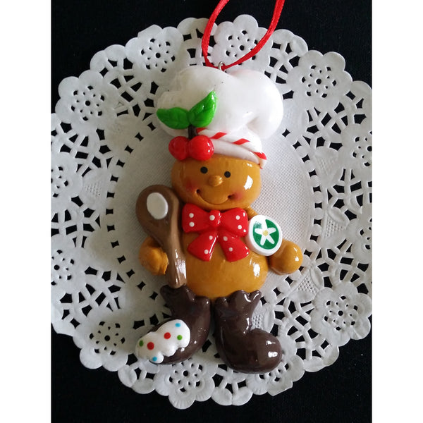Gingebread Man Christmas Ornaments Ginger Man Chef Tree Decorations Red and Green Ormament - Cake Toppers Boutique