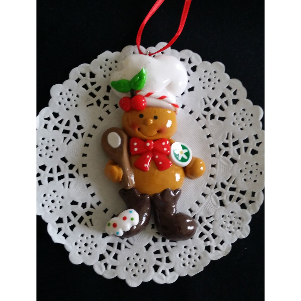 gingebread man christmas ornaments ginger man chef tree decorations red and green ormament cake toppers