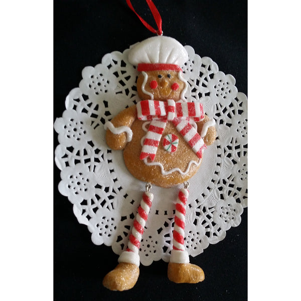 Gingerbread Man Christmas Tree Decorations Red Gingerman Ormament - Cake Toppers Boutique