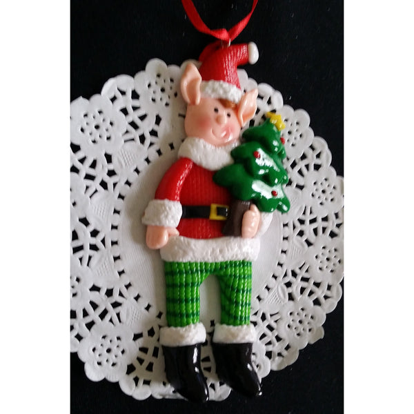 Elf Christmas Ornaments, Elf Christmas Tree Decorations, Red Christmas Ormament - Cake Toppers Boutique