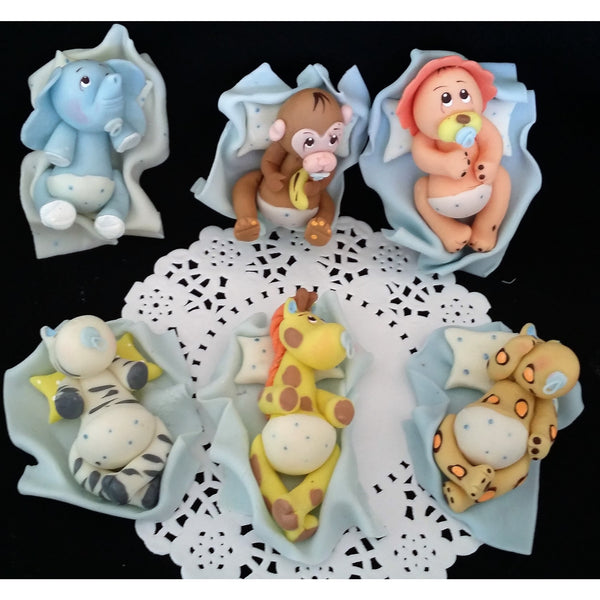 Safari Cake Topper Jungle Baby Animals Cake Decorations with Pink or Blue Blanket & Pacifiers 6pcs - Cake Toppers Boutique