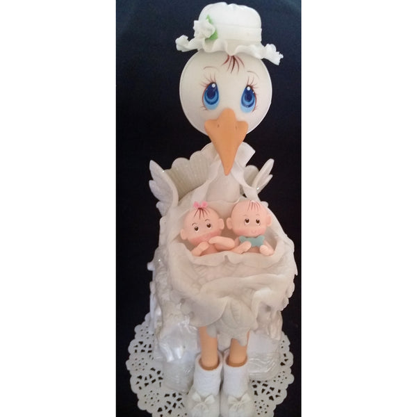 Twin Baby Shower Cake Toppers: Twins Baby Shower, Mommy Stork With Twins Babies Cake