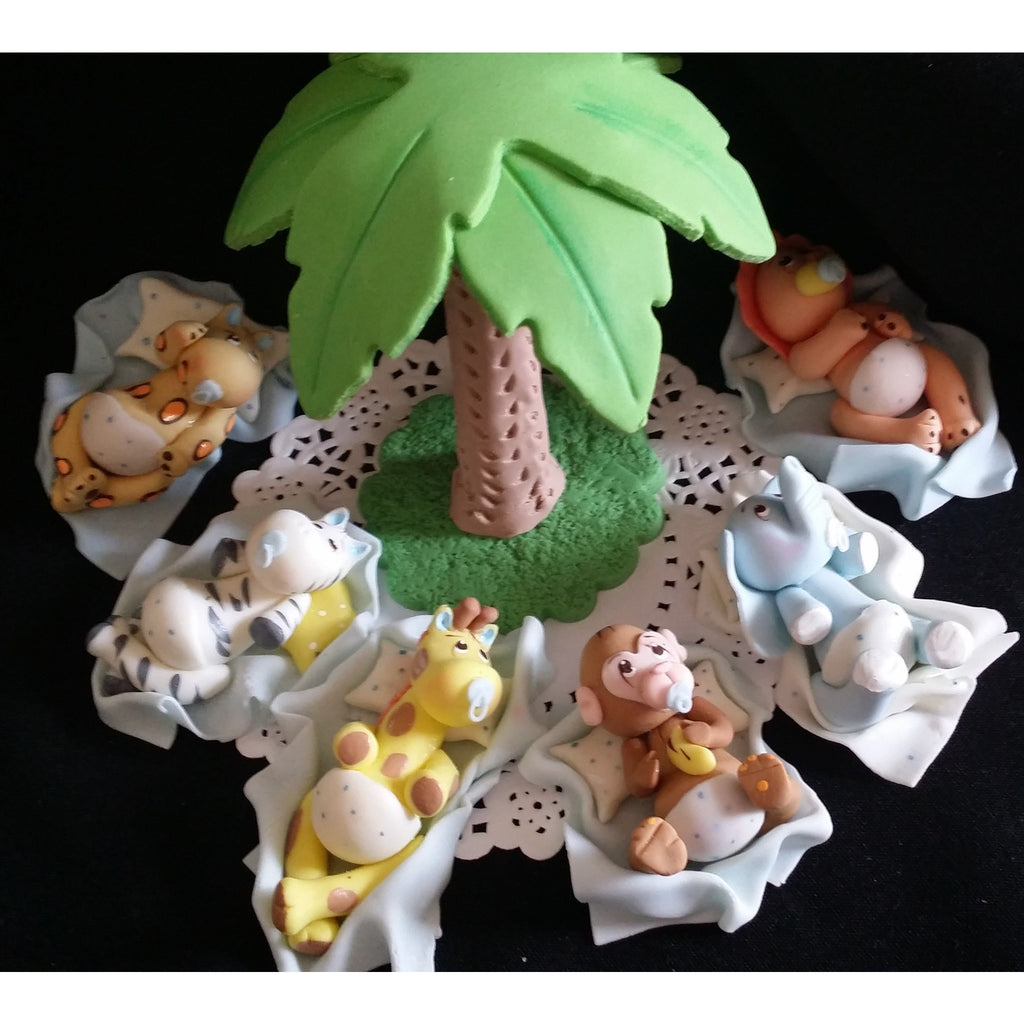Jungle baby animals cake toppers jungle baby shower for Animal cake decoration