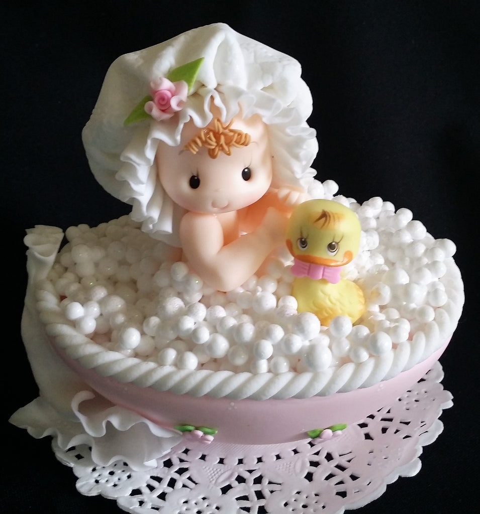 ... Baby On Bathtub Cake Topper, Baby Shower Cake Topper, Baby With Yellow  Duck Cake ...