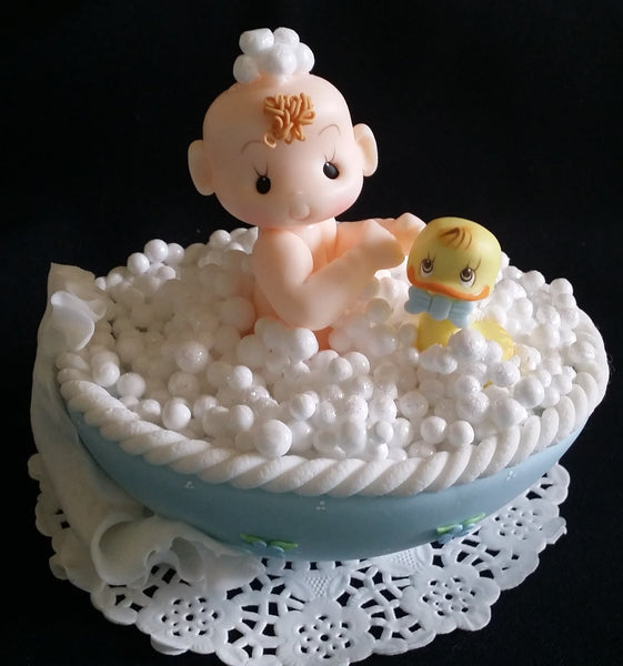 Baby on Bathtub Cake Topper Baby Shower Cake Topper Baby In Bathtub with Yellow Duck - Cake Toppers Boutique
