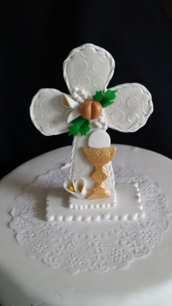 Cross Cake Topper First Communion Cake Decorations White Cross with Chalice and Grapes - Cake Toppers Boutique