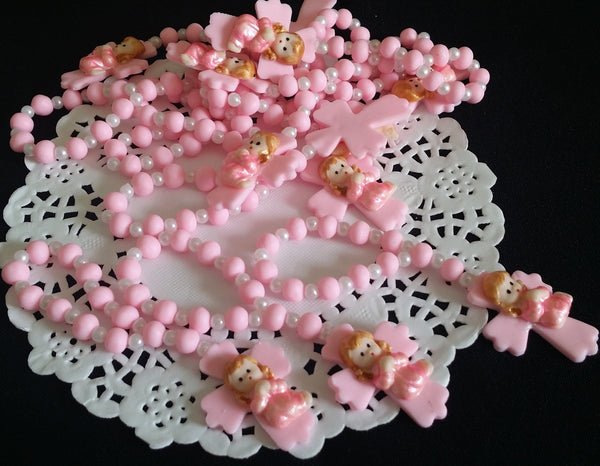 Baptism and Communion Rosary Favors Rosaries Keepsake in White, Pink or Blue Mini Rosaries 12 pcs - Cake Toppers Boutique